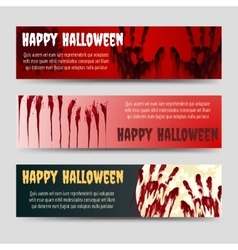 Bloody handprints halloween horizontal banners set vector