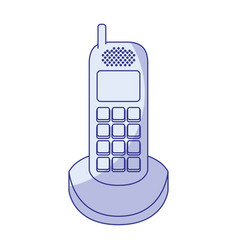 Blue shading silhouette of cordless phone vector