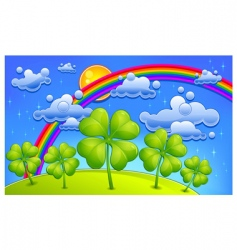 Clovers under rainbow vector