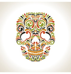Colorfull ornate scull vector image
