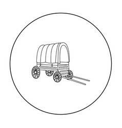 Cowboy wagon icon outline singe western icon from vector