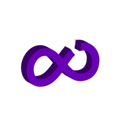 cut infinity symbol flat isometric icon or logo vector image