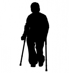 disabled person with crutches vector image vector image