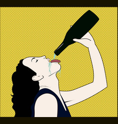 Drinking woman with opened bottle in a hand vector