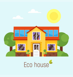 Flat style concept of eco house vector