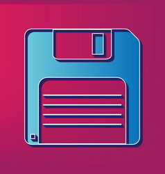 Floppy disk sign blue 3d printed icon on vector