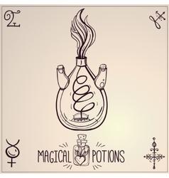Hand drawn vintage alchemical laboratory icon vector