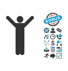 Happy Man Flat Icon with Bonus vector image