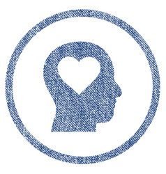 Love in head rounded fabric textured icon vector
