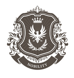 monarchy coat of arms - heraldic royal emblem vector image vector image