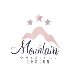 mountain original design logo with stars tourism vector image vector image