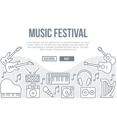 Music festival background with line icons vector