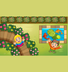 muslim kids and fish in garden vector image