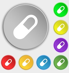 Pill icon sign symbol on eight flat buttons vector