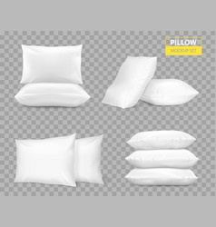 Realistic white pillows transparent set vector