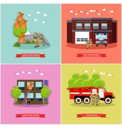 Set of posters with fire fighting concept vector