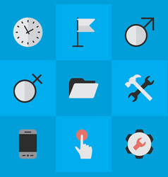 Set of simple design icons elements banner mobile vector