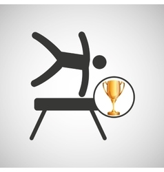 silhouette man gymnastic pommel horse trophy vector image