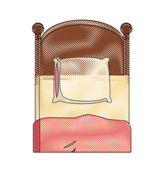 single bed wooden pillow bedding draw vector image