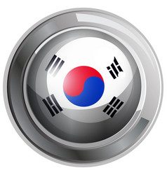 south korea flag on round badge vector image vector image