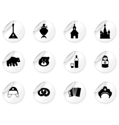 Stickers with russian icons vector image vector image