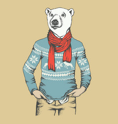 White polar bear vector