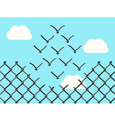 Wire mesh birds flying vector