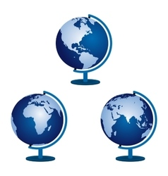 Three globe on a white background vector