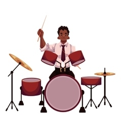 Handsome african male drummer playing drums vector