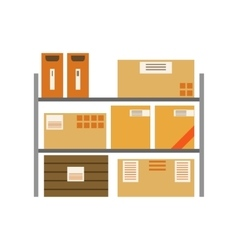 Paper box packages piled in the warehouse metal vector