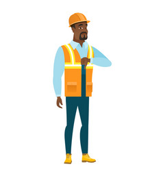 Disappointed african builder with thumb down vector
