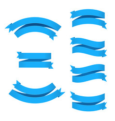 blue ribbons set with gradient mesh vector image