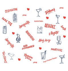 Hand drawn classic cocktails elements collection vector