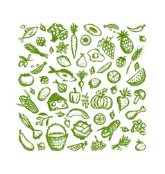 Healthy food background sketch for your design vector