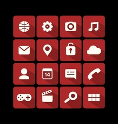Flat icons red vector
