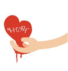 Hand giving heart of hurtbroken heart concept vector