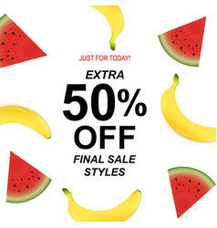 Summer sale poster with banana and watermelon vector
