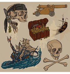 Pirates - an hand drawn colored pack no3 vector