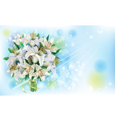 Card with Bouquet of white lilies vector image