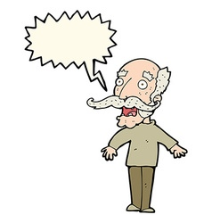 Cartoon old man gasping in surprise with speech vector
