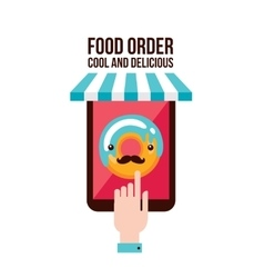 Online food order app person choosing donut menu vector