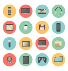 Flat icons set of multimedia devices vector