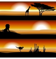 Animals on the savannah at sunset vector