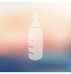 Baby bottle icon on blurred background vector