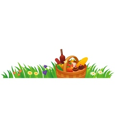 Picnic basket in the grass vector