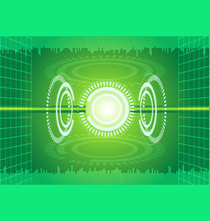 abstract digital technology green background vector image vector image