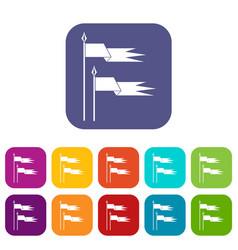 Ancient battle flags icons set vector