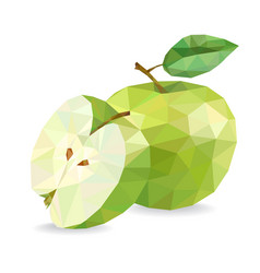 Apple and slice low poly vector