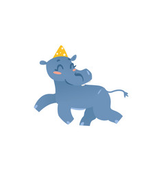 baby hippo hippopotamus character in birthday hat vector image vector image