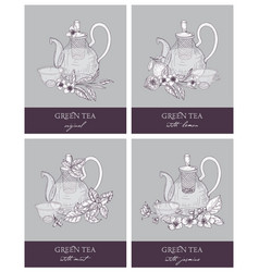 Bundle of gorgeous outline drawings of teapot cup vector